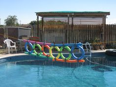 A diy pool game with noodles