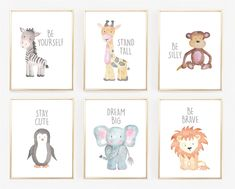 These new inspiring watercolor animal art prints are so bright and colorful, they would make the perfect contribution to any little girl's or boy's room! All of these prints look great paired together and are perfect for creating a cute art wall for your child's nursery. These prints are absolutely adorable, and they will add both an inspiring and whimsical charm to your little one's nursery! These prints also make wonderful baby shower gifts! Professionally printed on a heavy glo...