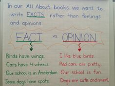 Writer's Workshop non-fiction lesson on fact vs. opinion.