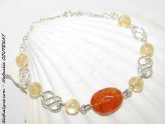 Bracelet Agate orange, Citrine et argent massif 935 fait main : Bracelet par nathalyne