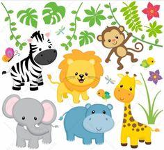 Wandsticker-Set bestehend aus 1 Löwe, 1 Giraffe, 1 Nilpferd, 1 Elefant, 1 Zebra, 1 Affe, Pflanzen, 2 Vögel, 2 Libellen, 1 Schmetterling. Alle Elemente können einzeln an der Wand angebracht werden....