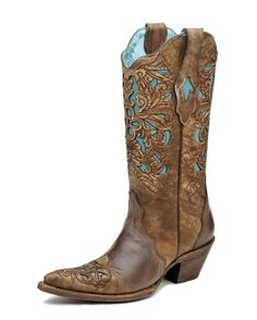 Corral Women's Brown/Turquoise Floral Tool Boot   CLEARLY, these are for AFTER I win the lottery :o/      NICE!!