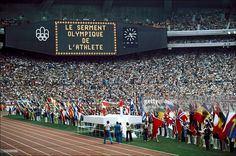 Montreal olympic games in Montreal, Canada on July ,1976 - Flags of the nations during the olympic oath.
