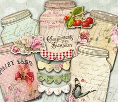 VINTAGE JARS Collage Digital Images -printable download file Scrapbook Printable Sheet via Etsy