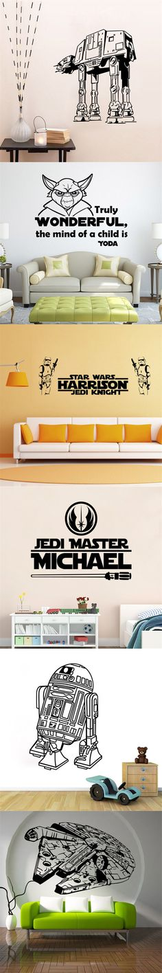 Creative 3d Stars Wars Wall Stickers For Home Decoration Decals Kids Bedroom vinyls Walls Paper Arts Battle Robots R2-D2 YODA-jf