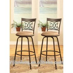 Bronze Finish Scroll Back Adjustable Metal Swivel Counter Height Bar Stools #adjustable_bar_stools, #Dining_Chairs