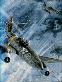 Messerschmitt Me-262A-1a Schwalbe, 'Blanco 17' (W.Nr. 110956), Piloto Oberst Heinz Bär, III/EJG.2 'Walter Nowotny', en mision de defensa de los cielos del Reich, 1945. - DFB: