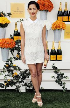 Olivia Munn in Lover at the Veuve Clicquot Polo Classic // #lace #dress #white