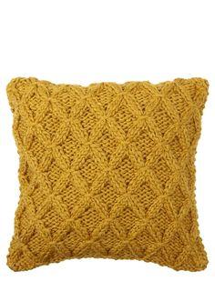 Mustard Chunky Diamond Knitted Cushion - BHS