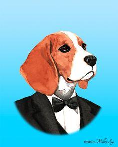 Beagle Art  Beagle Groom Dog Portrait Painting  by millersye, $12.00