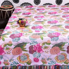 Queen Kantha Quilt Kantha Blanket Queen Bed Cover by Labhanshi