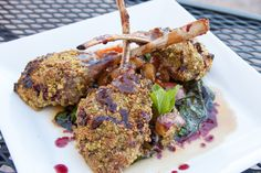 Pistachio crusted lamb chops, sauteed mushrooms, roasted red potato, wilted local rainbow Swiss chard finished with a merlot reduction.