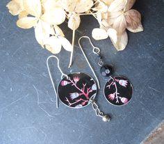 Black Floral Asymmetrical  Beauties- Tea Tin Earrings-Mismatched-Black Violet Blue-Artsy Look by eaststreettins on Etsy
