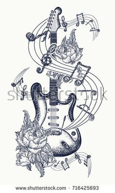 Electric guitar, roses and music notes. Rock and roll t-shirt des… Guitar tattoo. Electric guitar, roses and music notes. Rock and roll t-shirt design. Symbol of rock music, musical festivals. Guitar Tattoo Design, Music Tattoo Designs, Music Tattoos, Music Drawings, Music Artwork, Tattoo Drawings, Guitar Drawing, Guitar Art, Music Guitar