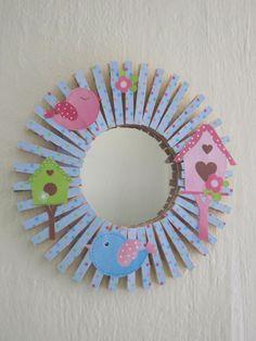 Childrens Mirror Nursery Mirror Clothespin Mirror Birds and Birdhouse Theme