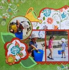 Swimming Pool scrapbook page with a Watering Can from Cricut's Walk In My Garden