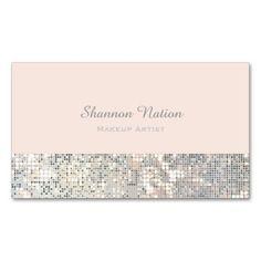 Modern hair stylist scissors faux sequin salon business card glamour sequin glitter blush pink business card colourmoves
