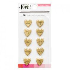 Ozdobne kształty serca - Hello Love - Gold Hearts 10szt. We R
