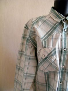 f9d7ec673196 Vintage Levi Strauss Western shirt Levis white green checkered shirt  Classic Long sleeves with snap