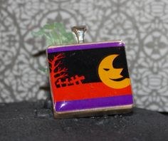 Moon and graveyard on a scrabble tile pendant