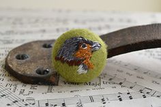 Hand Embroidered Chaffinch Bird Button 35 mm, by HandmadeandHeritage, £7.00