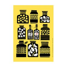 Hillopurkit (Jam jars) print by Polkka Jam Pattern Illustration, Graphic Design Illustration, Textile Patterns, Print Patterns, Pattern Design, Print Design, Food Illustrations, Mellow Yellow, Art Plastique