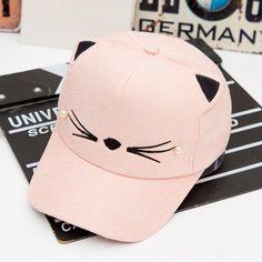 Cute Cat Baseball Cap - Cream