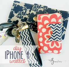 Quick DIY Gifts You Can Sew - DIY Iphone Wallet Tutorial - Best Sewing Projects for Gift Giving and Simple Handmade Presents - Free Sewing Patterns Easy Sewing Hacks, Sewing Tutorials, Sewing Crafts, Sewing Projects, Sewing Patterns, Diy Projects, Tape Crafts, Mini Wallet, Sew Wallet