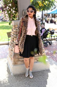 Girly details, chic outfit, Mango leopard coat, vince camuto ruffle neck blouse, cece skirt, henri bendel uptown satchel, fall outfits
