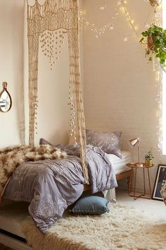 Bohemian bedroom //  shop the style: Purple Duvet Cover - Woven Hanging Above…