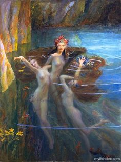 Nereids by Gaston Bussiere - French symbolist painter.