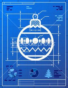 Blueprint holiday card glossy white 1818 holidays and products weihnachtsbaum ball symbol wie blaupause zeichnung stockvektor 30852199 malvernweather Choice Image
