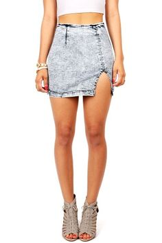 Acid Split Mini   $ 32.99      Sexy mini skirt in a light acid wash with a side split on the side. Zipper closure down the back. Soft and stretchy denim. Pair it with a slouchy knit.