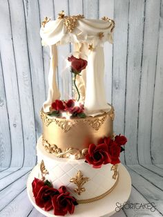 Ivory and Gold Beauty and the Beast cake