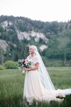modest wedding dress with flutter sleeves from alta moda. --(modest bridal gowns)---