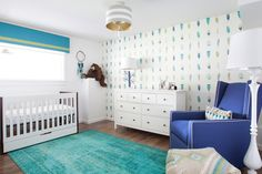 A favorite nursery by Lucy and Company. The Uncle Walter Drum Pendant and Ava Table Lamp are by Stray Dog Designs.