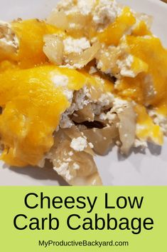 Cheesy Low Carb Cabbage: 5 basic ingredients will quickly make a low carb, gluten free side dish everyone will love! Wow your guests with an easy dish! Gluten Free Sides Dishes, Low Carb Side Dishes, Side Dish Recipes, Lunch Recipes, Appetizer Recipes, Beef Recipes, Cheese Recipes, Family Recipes, Dinner Recipes