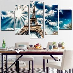 Unframed Canvas Painting Eiffel Tower Wall Sticker Sunshine Pictures Print Poster Modern for Decoration Modular Picture - Tap the link to see the newly released collections for amazing beach bikinis! Beach Canvas Wall Art, Sunset Canvas, Canvas Wall Decor, Tour Eiffel, Paris Eiffel Tower, Sunshine Pictures, Multi Picture, Home Decor Pictures, Diy Painting