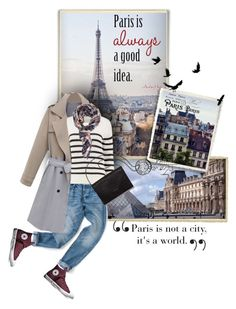 """""""Paris City"""" by sagramora ❤ liked on Polyvore featuring WALL, Tim Holtz, Boohoo, Loeffler Randall, Converse and Forever 21"""