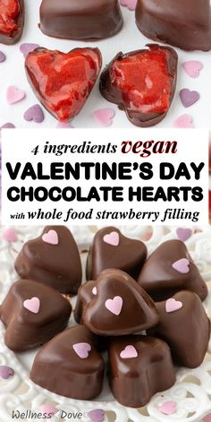 Make the perfect Valentine's day dessert with these homemade dark chocolate hearts are filled with a delicious sweet whole food, plant based creamy strawberry filling. They are so easy to make and look really impressive. And sooo healthy! So little sugar and so much wholesome sweetness in those dates! And the strawberries give so much freshness! Enjoy! Healthy Vegan Desserts, Clean Eating Desserts, Vegan Dessert Recipes, Healthy Cookies, Easy Desserts, Yummy Recipes, Whole Food Recipes, Delicious Desserts, Yummy Food