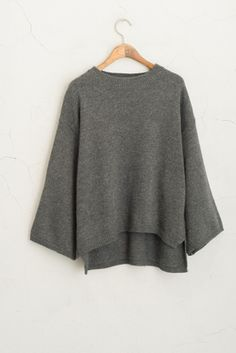 Simple Round Neckline Knit Jumper, Charcoal