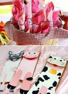 Girly Pink Gingham Farm Party: animal paperbag puppets
