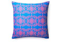One Kings Lane - Bright Spots - Tribal 20x20 Outdoor Pillow, Bright Blue