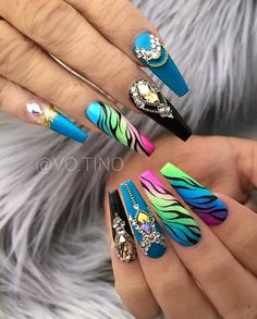 70 Alluring Acrylic Coffin Nails Design Ideas This Summer - Page 64 of 71 - Most beautiful Nail models Beautiful Nail Designs, Cute Nail Designs, Beautiful Nail Art, Acrylic Nail Designs, Bright Nail Designs, Dope Nails, Bling Nails, Stiletto Nails, Ballerina Acrylic Nails