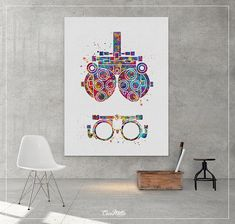 Optometry Tool CANVAS Watercolor Print Optometrist Gift Doctors Office Decor, Medical Office Decor, Optometry Office, Office Art, Colorful Wall Art, Colorful Decor, Diy Wall Art, Wall Art Decor, Paper Bag Design