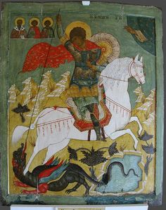Saint George slaying the dragon: Russian icons from the Pskov. Byzantine Icons, Byzantine Art, Russian Icons, Russian Art, Religious Icons, Religious Art, Saint George And The Dragon, Art Icon, Orthodox Icons