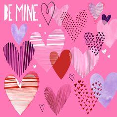 Margaret Berg Art: Hearts Collage Valentine's Day Card: Mauve