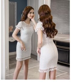 Korean Fashion Dress, Asian Fashion, Fashion Dresses, White Dresses For Women, Nice Dresses, Fashion Models, Girl Fashion, Womens Fashion, Lady