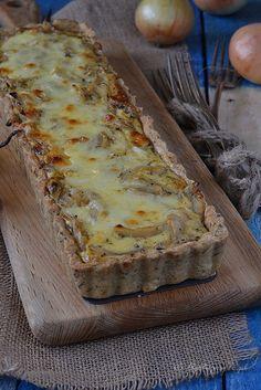 Tarta cebulowo serowa Starters, Lasagna, Banana Bread, Food And Drink, Veggies, Pizza, Cooking, Ethnic Recipes, Desserts