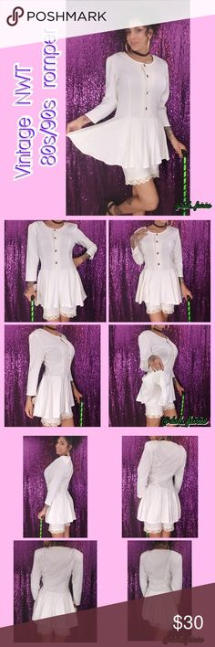 Vintage white NWT 80s/90s romper Super cute vintage eighties/90s white romper.  nwt(look under my hand)??. Size 7/8. Model size 4. Fits big but still adorable. Sass it up with some accessories. Message me for more details, offers or personalize bundles. #vintage #80s #90s #sassy #cute #white #newvintage #nineties #eighties #buttons #new #nwt Vintage Shorts